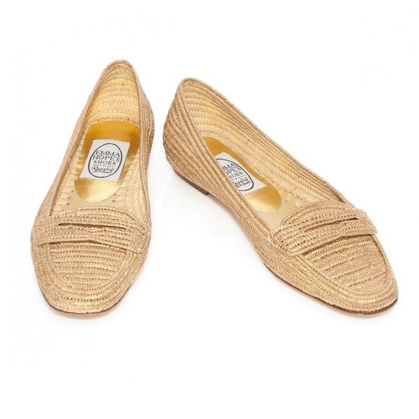 Penny Loafer in Gold Raffia with Leather soles