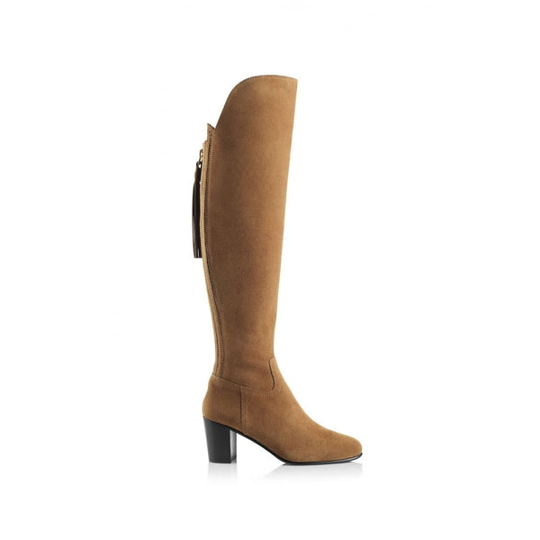 hoity-toity-shoes - Amira Above The Knee Suede Boot in Tan - Fairfax & Favor - Boots