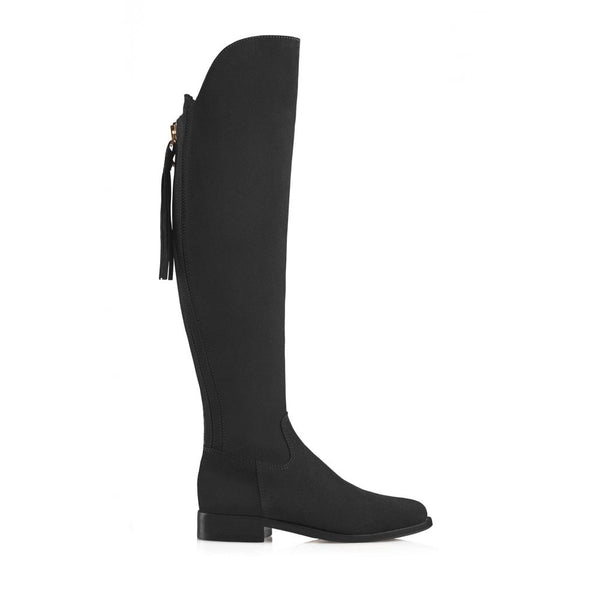 hoity-toity-shoes - Amira Over The Knee Flat Boot in Black Suede - Fairfax & Favor - Boots
