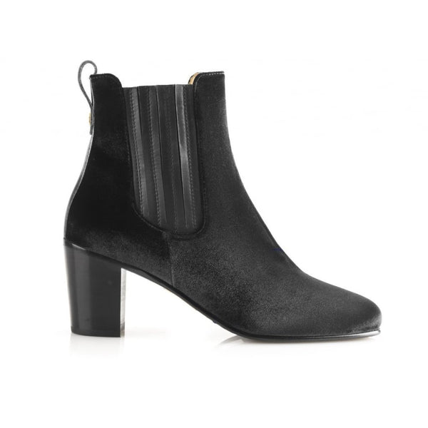 hoity-toity-shoes - Electra Velvet Ankle Boot In Black - Fairfax & Favor - Boots > Ankle Boots,Boots