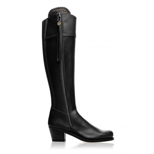 hoity-toity-shoes - Heeled Regina Leather Boot in Black - Fairfax & Favor - Boots