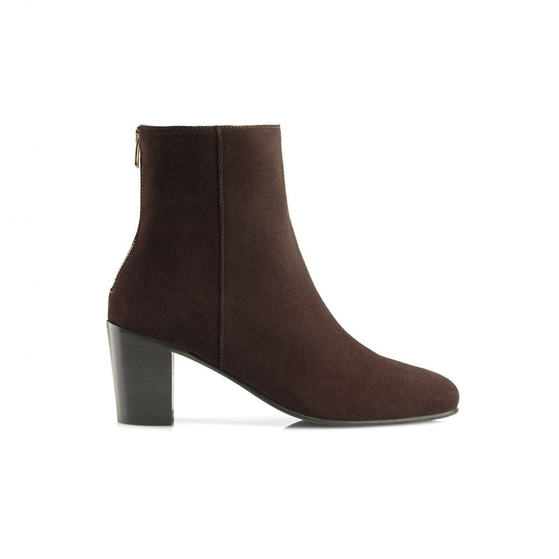 hoity-toity-shoes - Knightsbridge Ankle Boot with 7cm block heel in Chocolate Suede - Fairfax & Favor - Boots > Ankle Boots,Boots