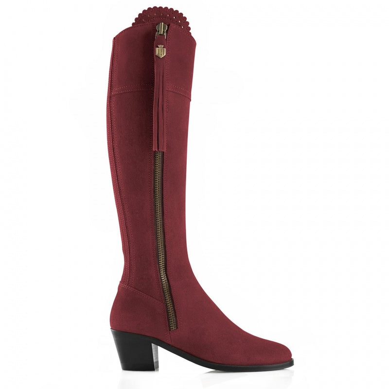 hoity-toity-shoes - Regina Heeled Suede Boot in Oxblood - Fairfax & Favor - Boots