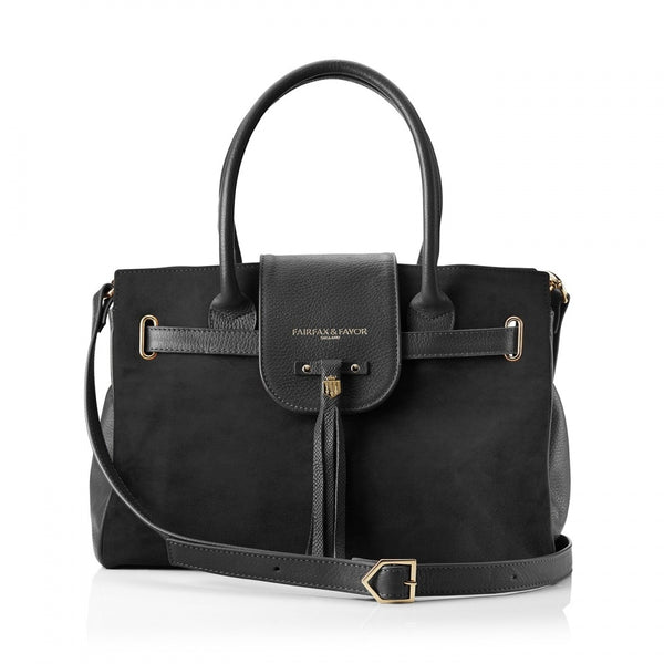 hoity-toity-shoes - Windsor Handbag in Black Suede - Fairfax & Favor - Accessories > Handbag,Accessories