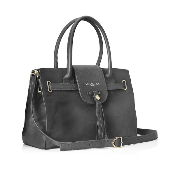 Windsor Handbag Grey Suede