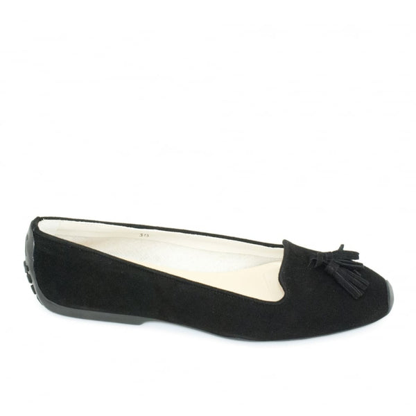 hoity-toity-shoes - Gabi Tassel Driver in Black Suede - French Sole - Flats > Flat Loafer,Flats