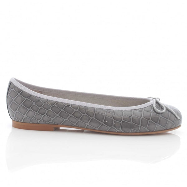 hoity-toity-shoes - Henrietta Moc Croc in Light Grey Patent - French Sole - Ballet Flats