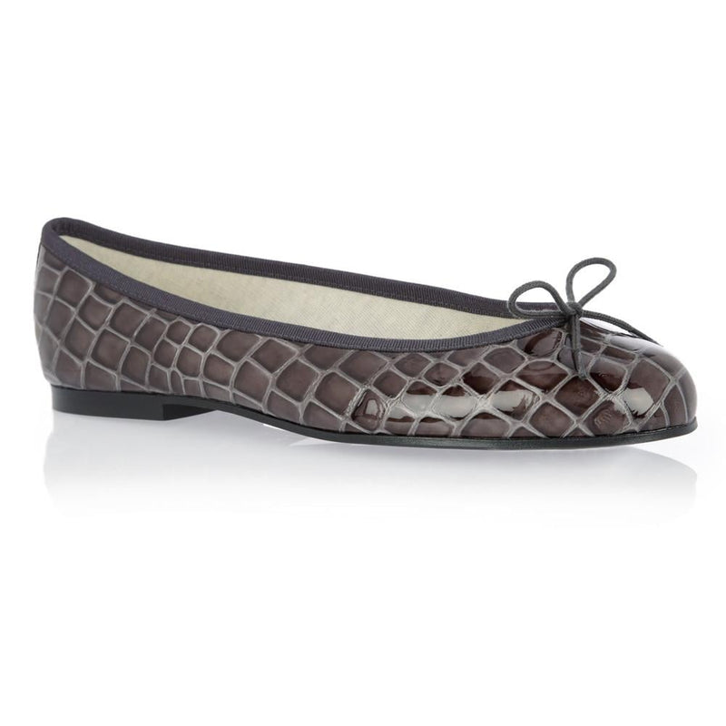 hoity-toity-shoes - Henrietta Patent Crocodile Grey - French Sole - Ballet Flats