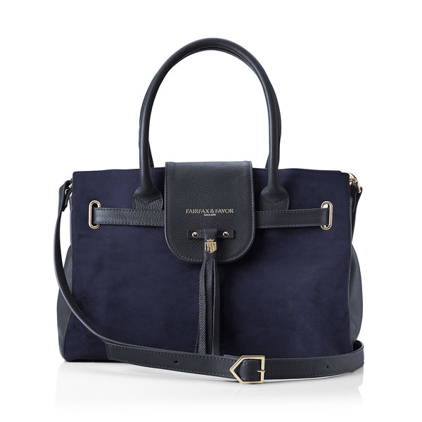 hoity-toity-shoes - Windsor Navy Handbag in Suede - Fairfax & Favor - Accessories > Handbag