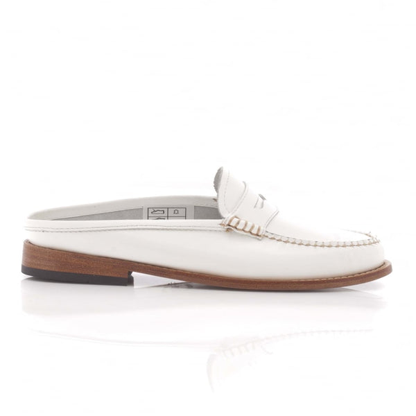 Penny Slide Mule White Leather