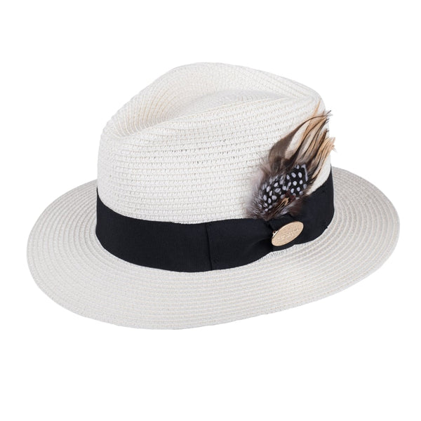 Hicks and Brown Aldeburgh Fedora with Guinea and Pheasant Feathers