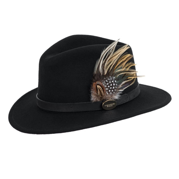 Suffolk Fedora Hat (Black) with Guinea and Pheasant Feathers