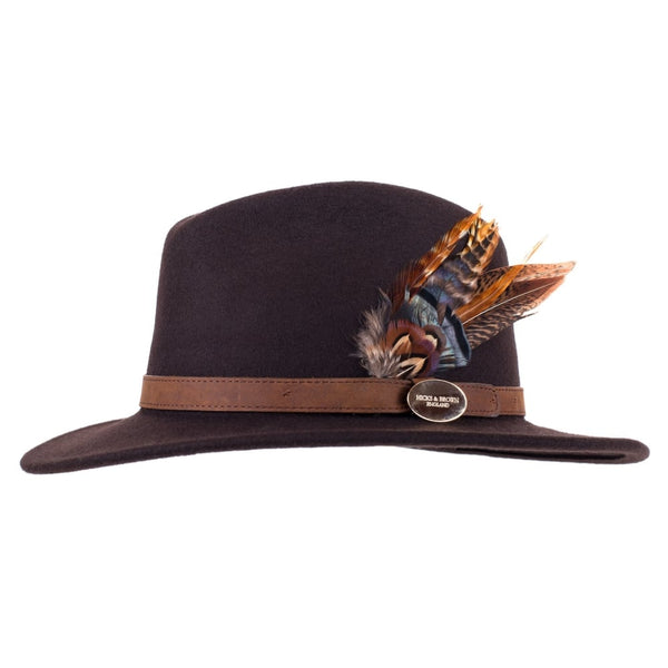 Suffolk Fedora Hat (Brown) with Pheasant and Guinea Feather Details