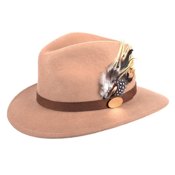 Suffolk Fedora Hat (Camel) with Pheasant and Guinea Feather Detail