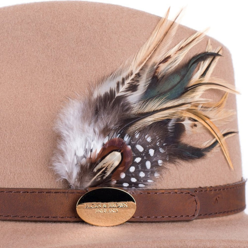 hoity-toity-shoes - Suffolk Fedora Hat (Camel) with Pheasant and Guinea Feather Detail - Hicks & Brown - Hat