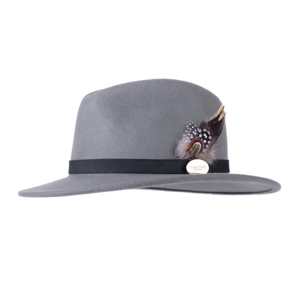 Suffolk Fedora Hat (Grey) with Pheasant and Guinea Feather Detail
