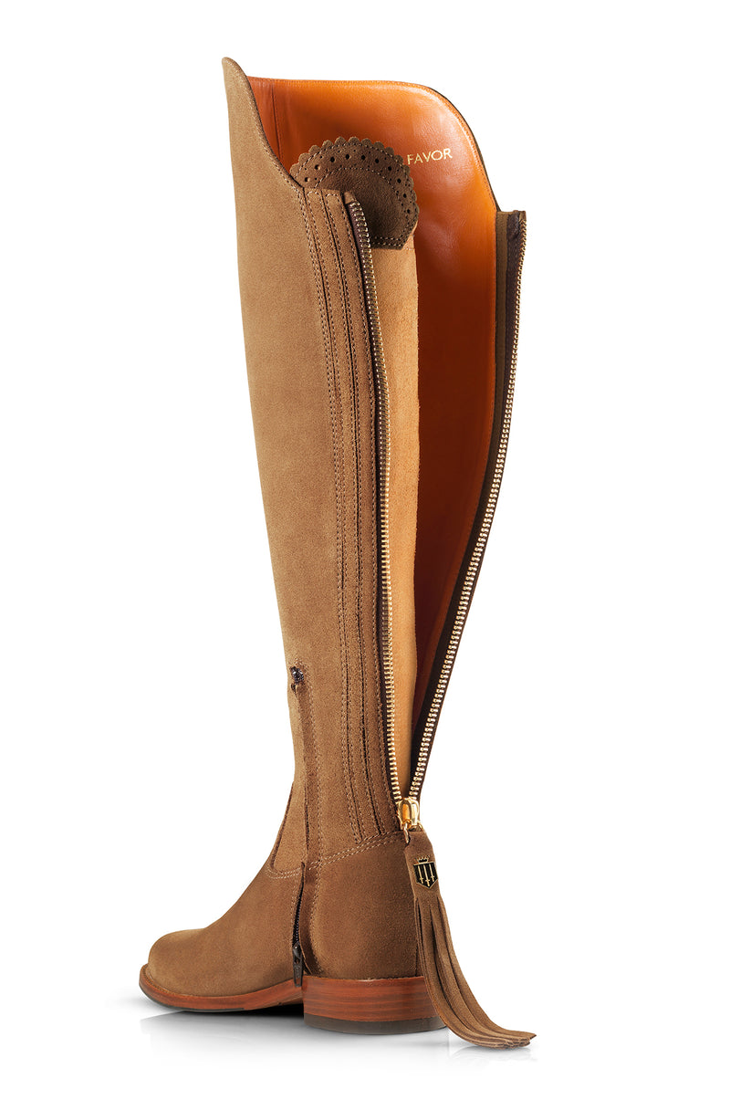 The Amira Over The Knee Flat Boot in Tan Suede
