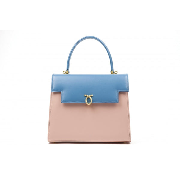 hoity-toity-shoes - Judi Calf Leather Handbag in Powder Pink / Capri Blue - Launer Of London - Accessories > Handbag