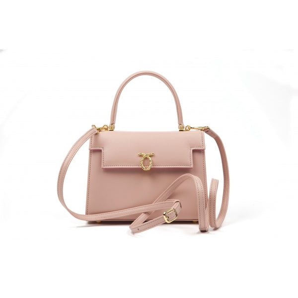 hoity-toity-shoes - Judi Calf Leather Handbag in Powder Pink - Launer Of London - Accessories > Handbag