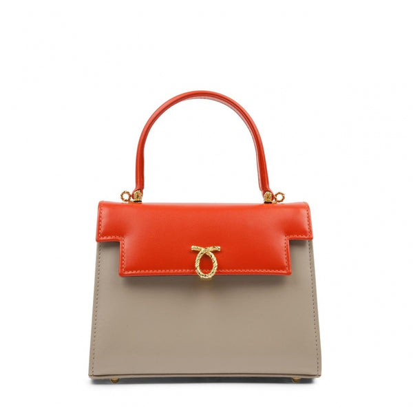hoity-toity-shoes - Judi Calf Leather Handbag in Tangerine and Buttermilk - Launer Of London - Accessories > Handbag