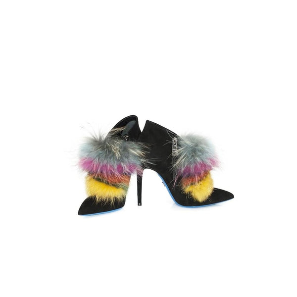 hoity-toity-shoes - High Heeled Multi Coloured Fur Bootie - Loriblu - High Heel Bootie