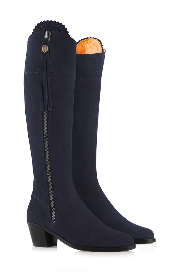 hoity-toity-shoes - Heeled Regina Boot in Navy Suede - Fairfax & Favor - Boots