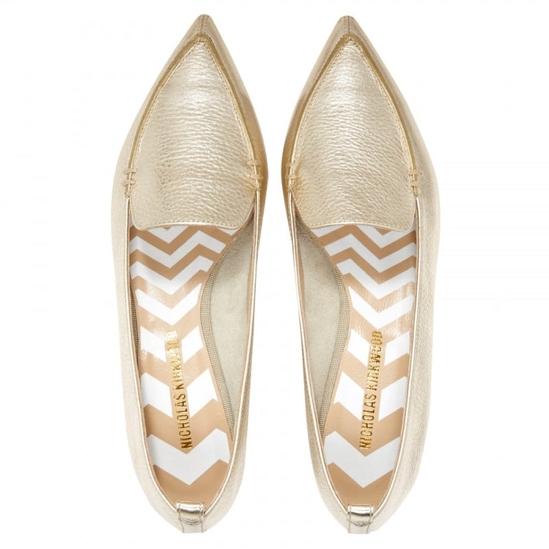 hoity-toity-shoes - Nicholas Kirkwood Beya Loafer in Gold (Platino)18mm heel - Nicholas Kirkwood - Flats > Flat Loafer,Flats
