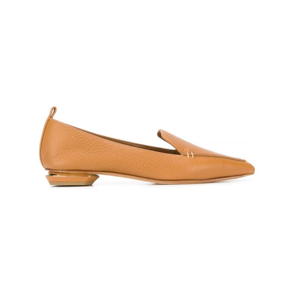 hoity-toity-shoes - Nicholas Kirkwood Beya Loafer in Tan Calf with 18mm Gold Plate Heel - Nicholas Kirkwood - Flats > Flat Loafer,Flats