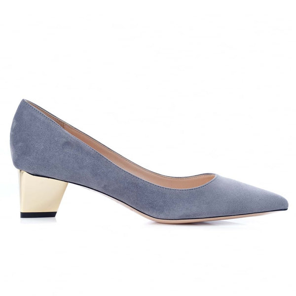 Prism Grey Suede Pump - Mid Heel in Gold