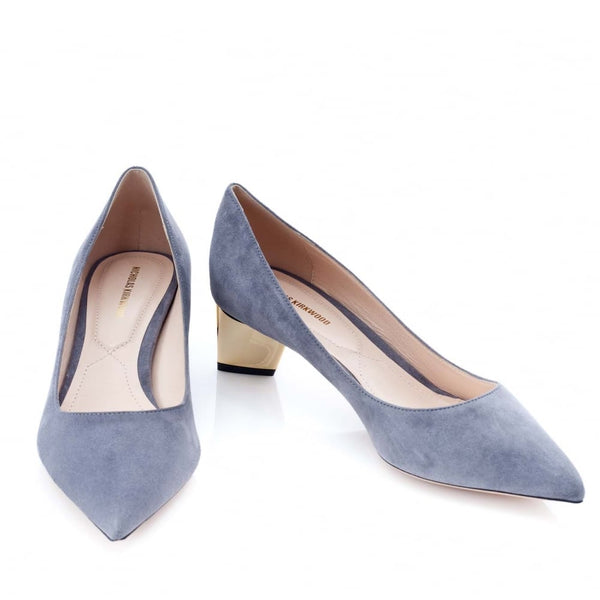 hoity-toity-shoes - Prism Grey Suede Pump - Mid Heel in Gold - Nicholas Kirkwood - Mid Heel,Low Heel,Pumps