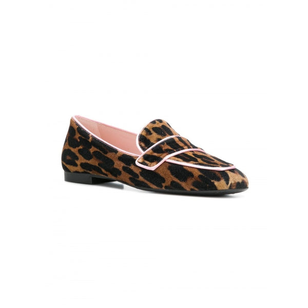 Carla Animal Printed Velvet Loafer with Pink Trim