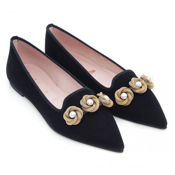 Ella Black Suede Pointed Flat with Golden chain and Pearls