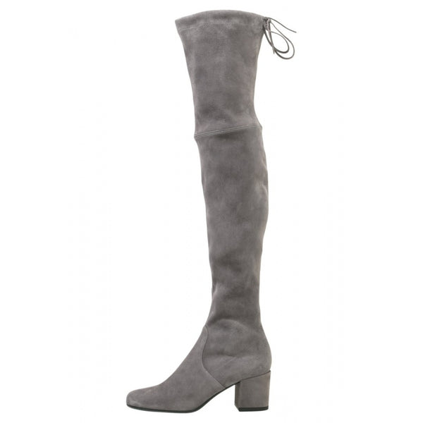 hoity-toity-shoes - Gal Over The Knee Grey Suede 65mm Block Heeled Boots - Pretty Ballerinas - Boots