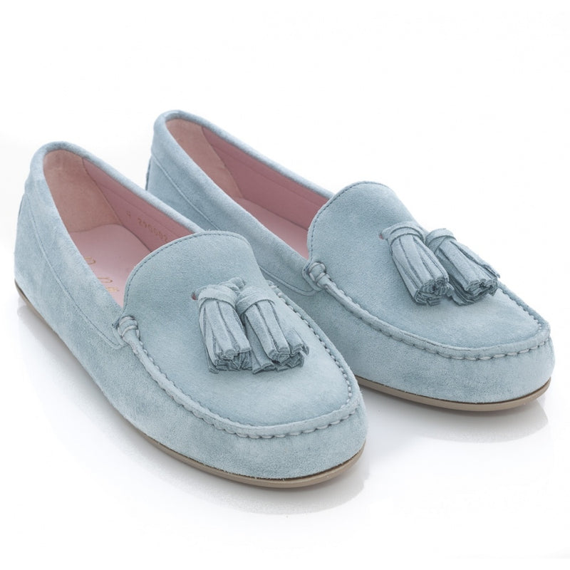 hoity-toity-shoes - Josephine Tasseled Driving Shoe in Navy Suede - Pretty Ballerinas - Flats > Flat Loafer