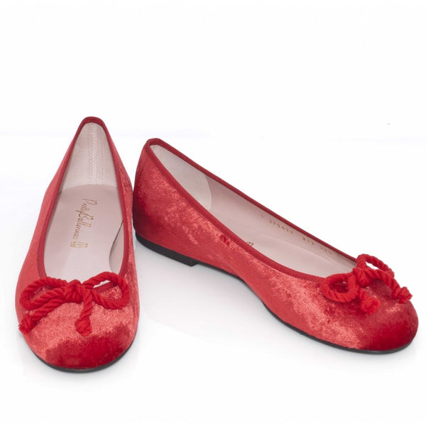 hoity-toity-shoes - Red Velvet Ballet Flats - Pretty Ballerinas - Ballet Flats