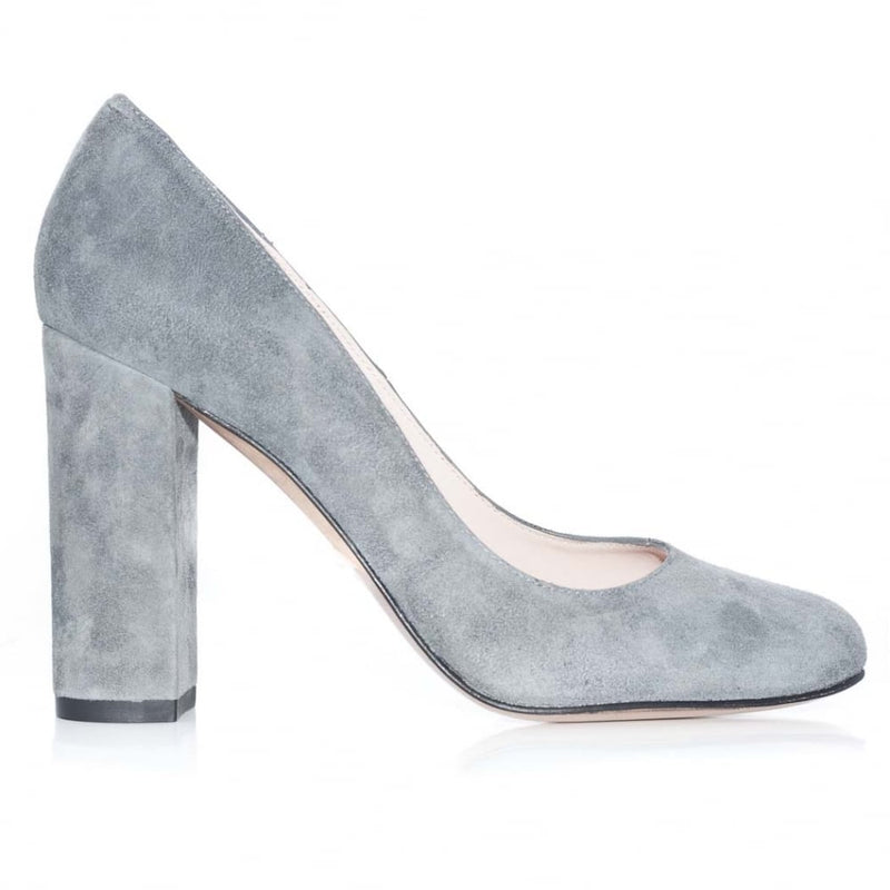 hoity-toity-shoes - Suede Block Heel Pumps With Almond Toe - Pura Lopez - High Heel,Pumps