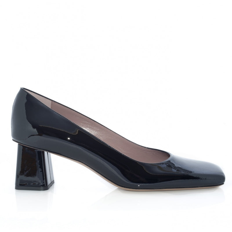 hoity-toity-shoes - Square Toe Block Heel Black Patent Pump - Rayne Of London - Pumps,Mid Heel