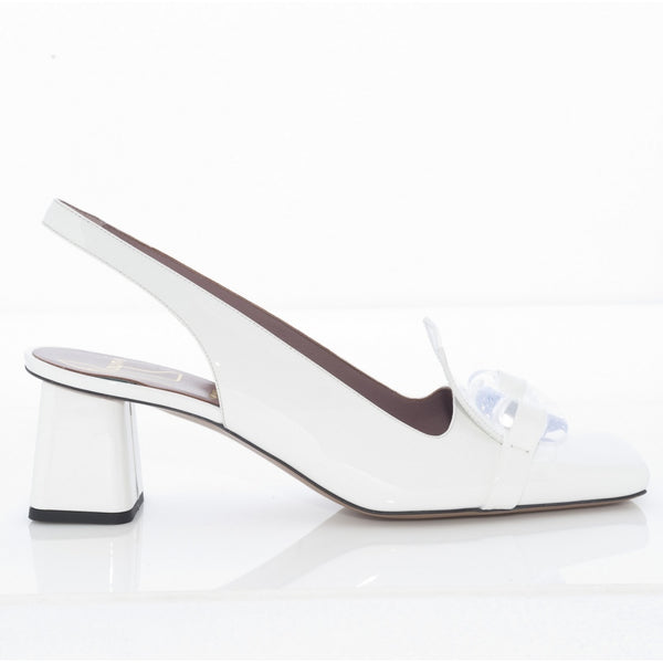 Square Toe Block Heel Slingback with Perspex Detail in White Patent