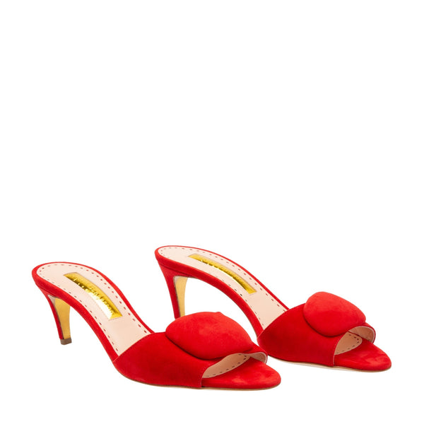 hoity-toity-shoes - Gwyneth Open Toe Pebble Mule in Red Suede - Rupert Sanderson - Mid Heel,Mule,Strappy Sandal