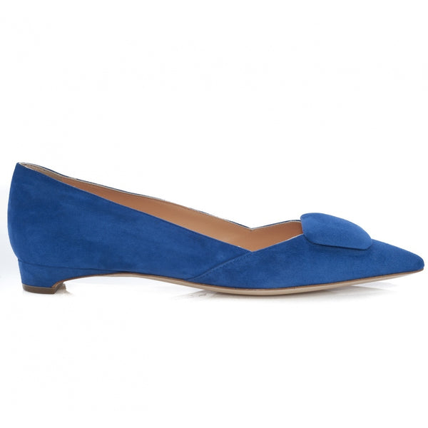 Aga Flat Pebble Pump in Bright Blue Suede
