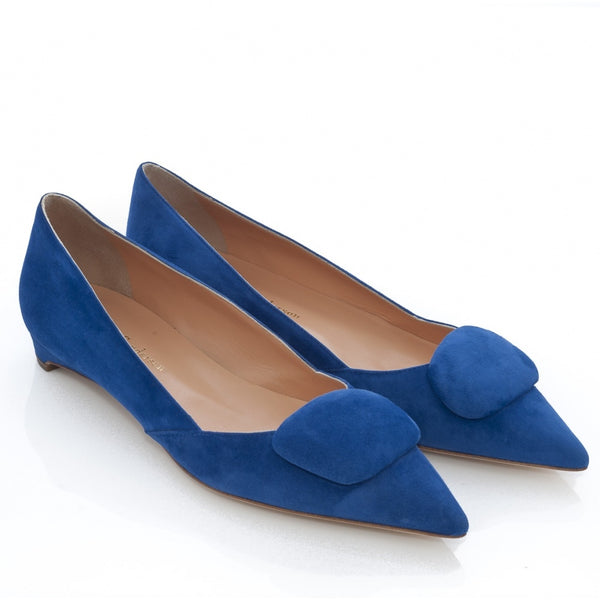 hoity-toity-shoes - Aga Flat Pebble Pump in Bright Blue Suede - Rupert Sanderson - Flats,Low Heel,Pumps