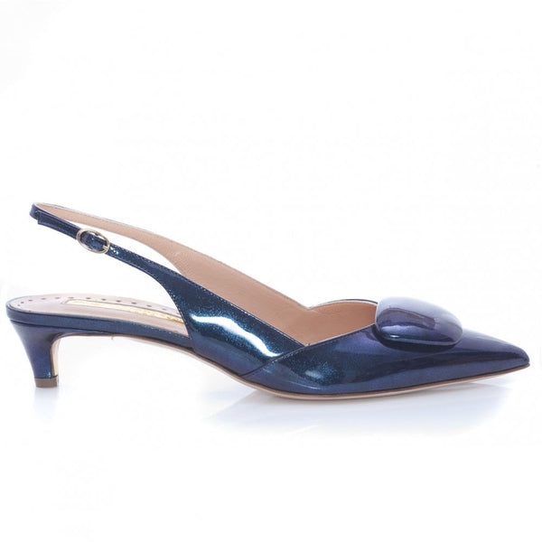 hoity-toity-shoes - Misty Glitter Nebular Low Patent Slingback in Midnight Blue - Rupert Sanderson - Pumps,Low Heel,Slingback