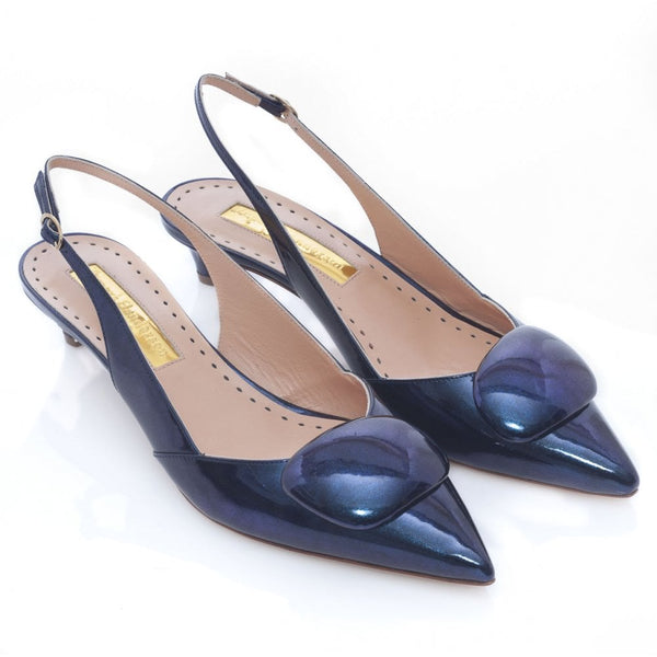 Misty Glitter Nebular Low Patent Slingback in Midnight Blue