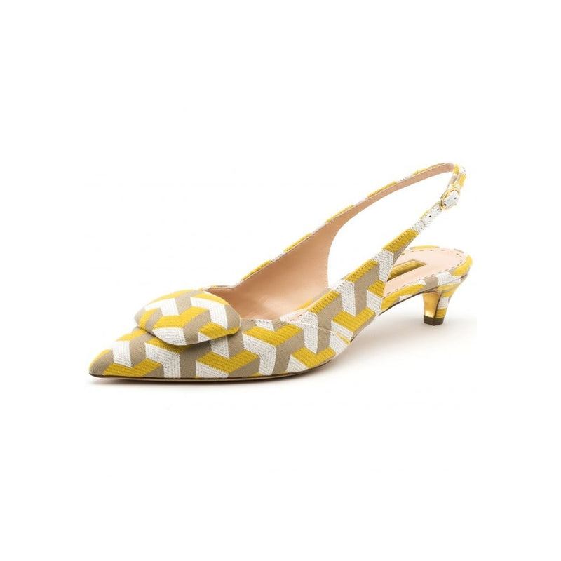 hoity-toity-shoes - Misty Low Heeled Slingback in Yellow, White and Nude Fabric - Rupert Sanderson - Slingback,Low Heel