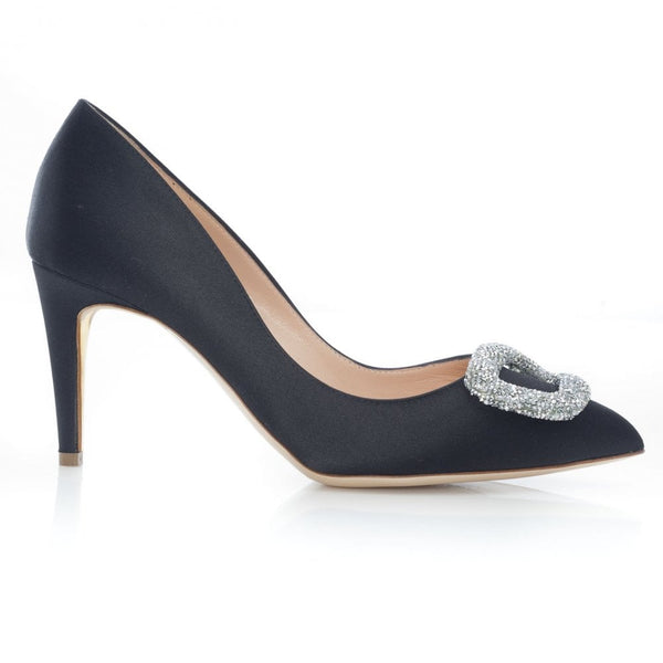 hoity-toity-shoes - Nada Black Satin Pump with Swarovski Crystal O embellishment - Rupert Sanderson - High Heel,Pumps