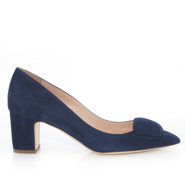 hoity-toity-shoes - New Clava Mid Heeled Pebble Pump in Twilight (navy) Blue Suede - Rupert Sanderson - Pumps,Mid Heel
