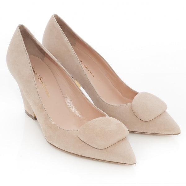 hoity-toity-shoes - Pierrot Pebble Pump in Buttermilk Suede - Rupert Sanderson - Pumps,Mid Heel