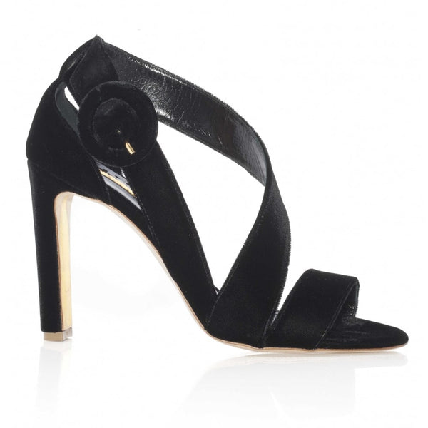 hoity-toity-shoes - Sweetedge Black Velvet Strappy Sandal - Rupert Sanderson - Strappy Sandal,High Heel
