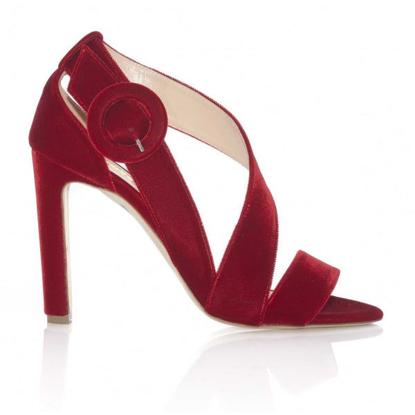 hoity-toity-shoes - Sweetedge in Red (Sangria) Velvet Strappy Sandal - Rupert Sanderson - Strappy Sandal,High Heel