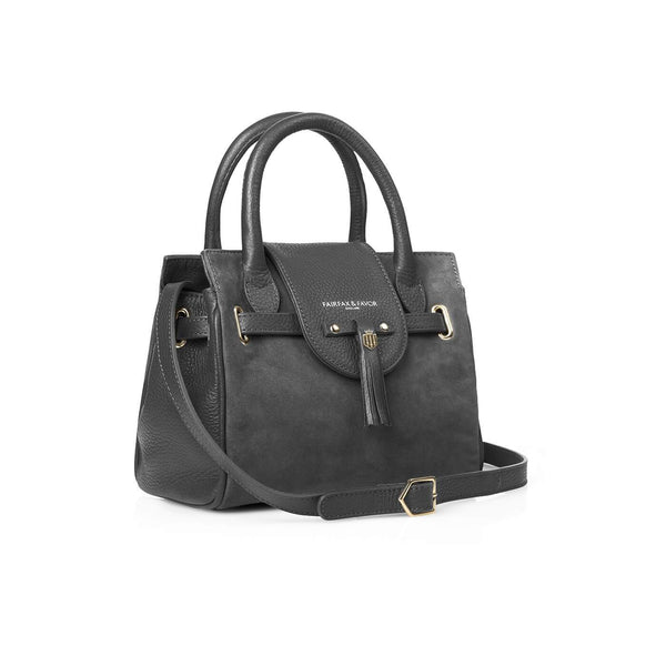 Mini Windsor Handbag in Grey Suede and Leather